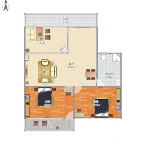 建鑫花园2室2厅1卫1厨122.80㎡户型图