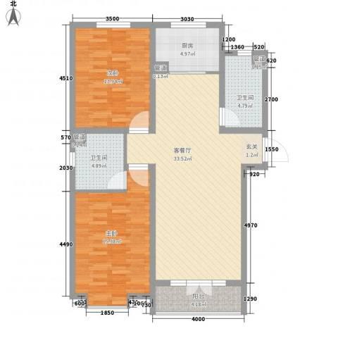 东方花园2室1厅2卫1厨91.00㎡户型图