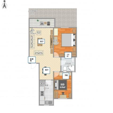 由中苑2室1厅1卫1厨85.00㎡户型图