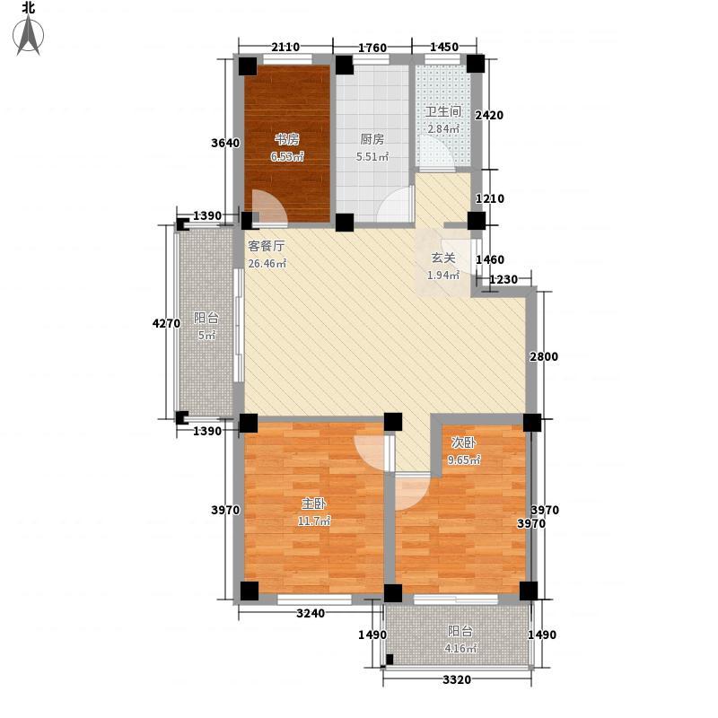 山水绿城・栖园13.20㎡B户型3室2厅1卫1厨