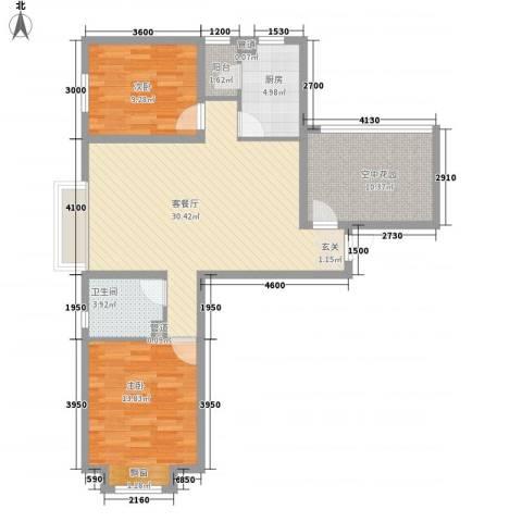 保利・香槟花园2室1厅1卫1厨106.00㎡户型图