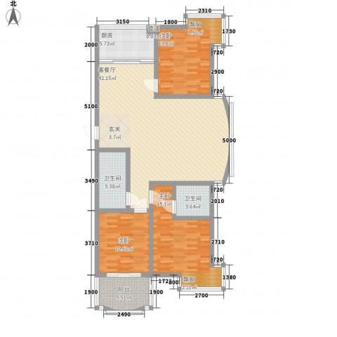 汇金谷3室1厅2卫1厨146.00㎡户型图
