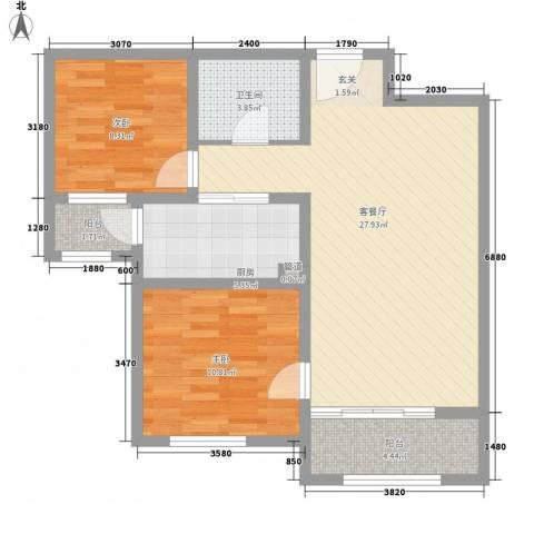 北京海航国兴城2室1厅1卫1厨91.00㎡户型图