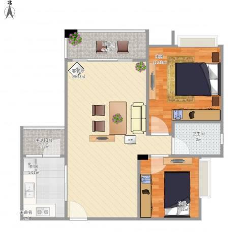 东城艺墅2室1厅1卫1厨80.00㎡户型图