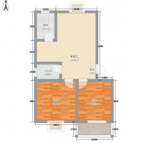 世嘉馨城2室1厅1卫1厨86.00㎡户型图