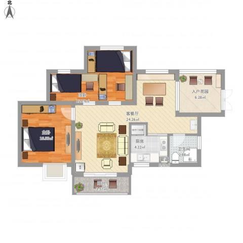 滨湖世纪城春融苑2室1厅1卫1厨94.00㎡户型图