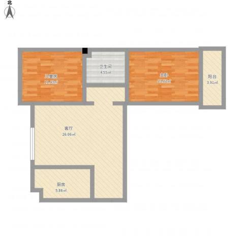 汇通新城2室1厅1卫1厨94.00㎡户型图