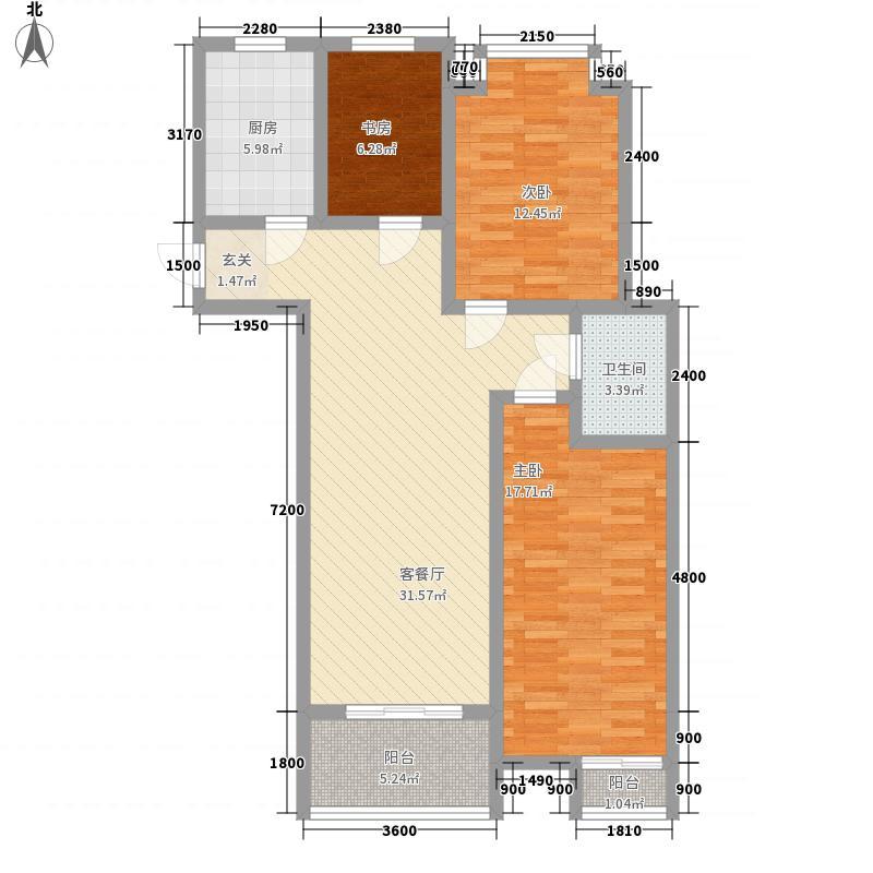金色年华时尚广场户型3室2厅1卫1厨