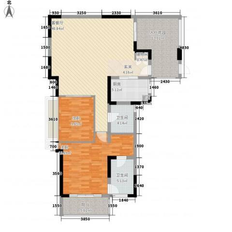 万科棠樾2室1厅2卫1厨128.00㎡户型图