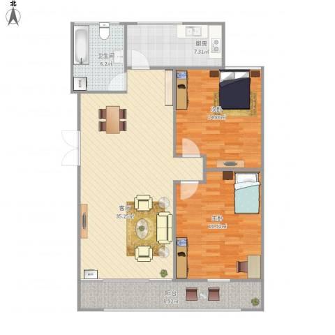 幸运小区、2居室、95平2室1厅1卫1厨119.00㎡户型图