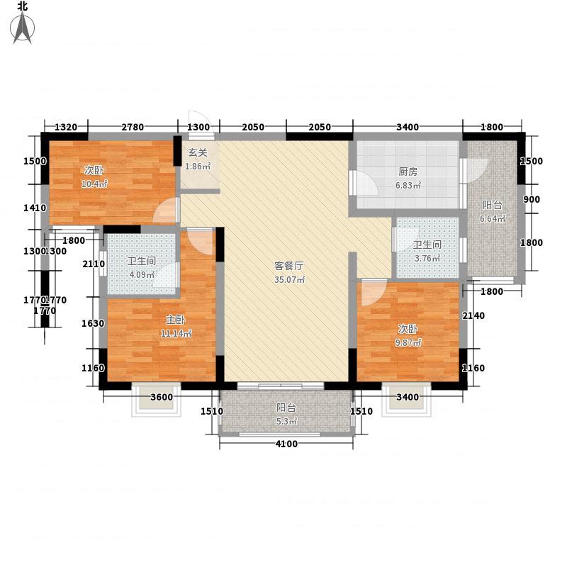 玺郡115.56㎡B户型3室2厅2卫1厨