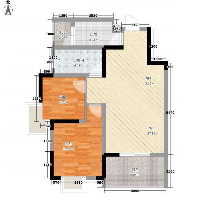 香山圣景绿岭74.80㎡D型户型2室2厅1卫1厨