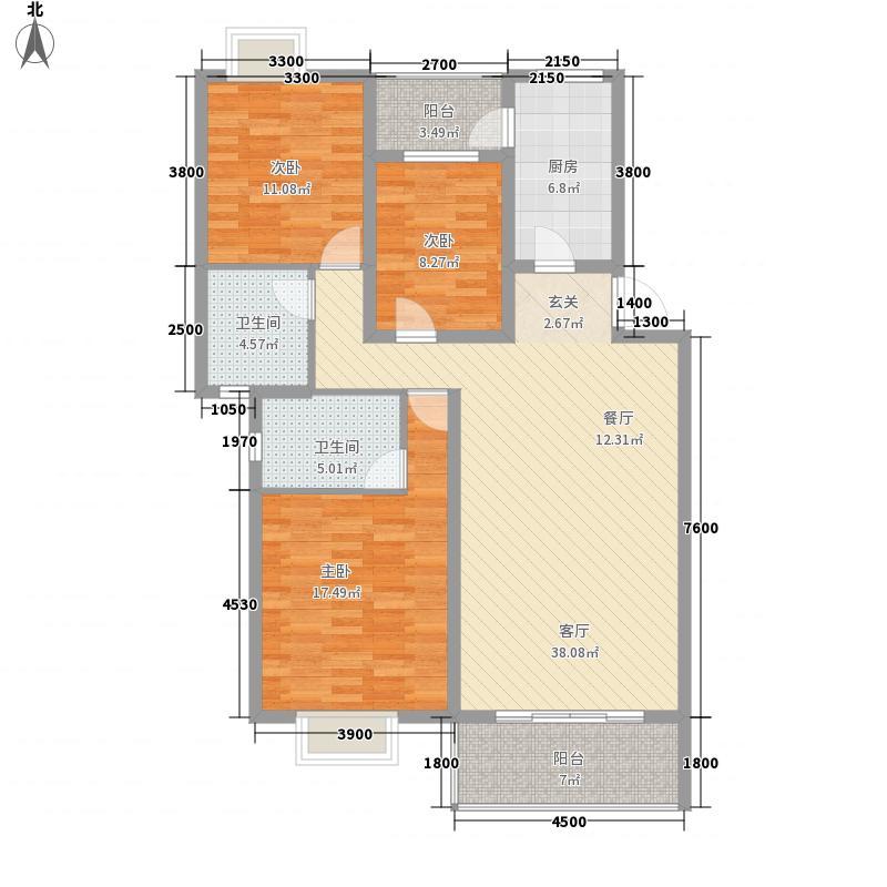 锦绣华庭11.11㎡A1户型3室2厅2卫1厨