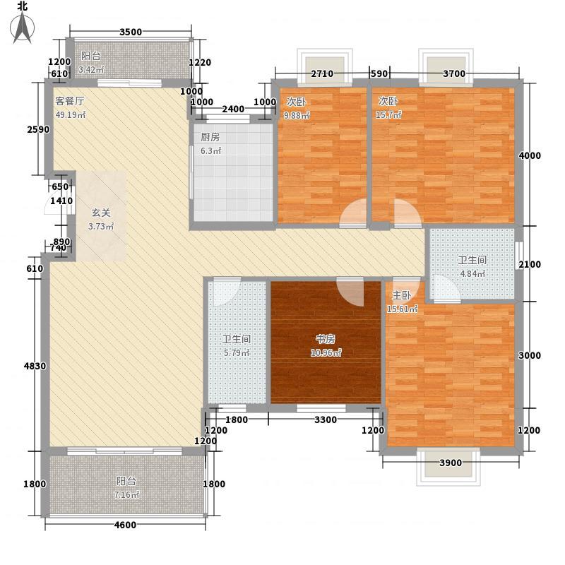 水榭花城中城157.22㎡18#19#户型4室2厅2卫