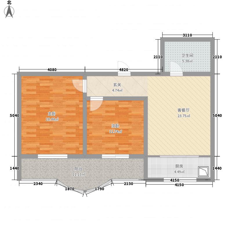 幸福水岸公寓户型2室1厅1卫1厨