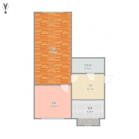 幸福家园1室1厅1卫1厨110.00㎡户型图