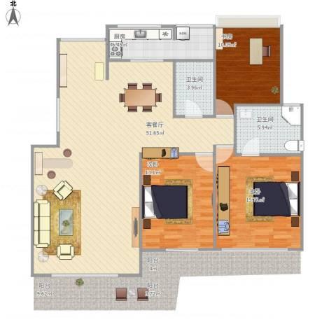 中澳新城御湖居3室1厅2卫1厨142.00㎡户型图