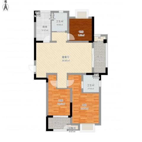 新城御景湾3室1厅2卫1厨130.00㎡户型图