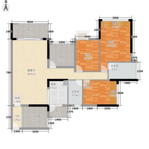 金雅苑3室1厅2卫1厨141.23㎡户型图