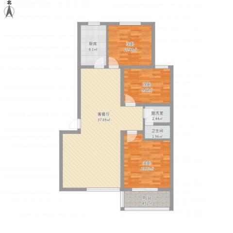 丽景名都三期3室2厅1卫1厨122.00㎡户型图