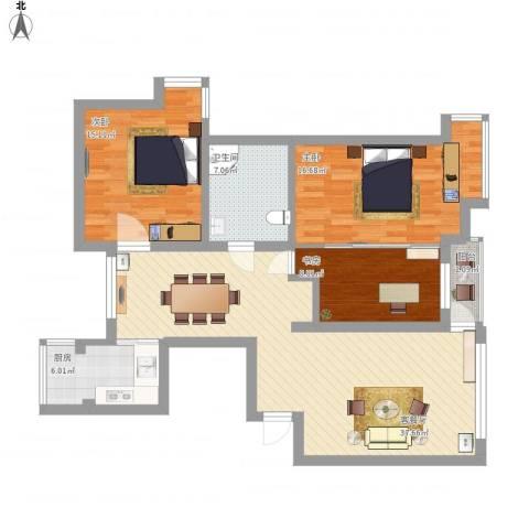 佳和园3室1厅1卫1厨135.00㎡户型图