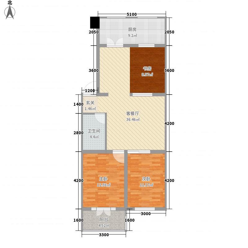 万和城8.71㎡C户型3室2厅1卫1厨