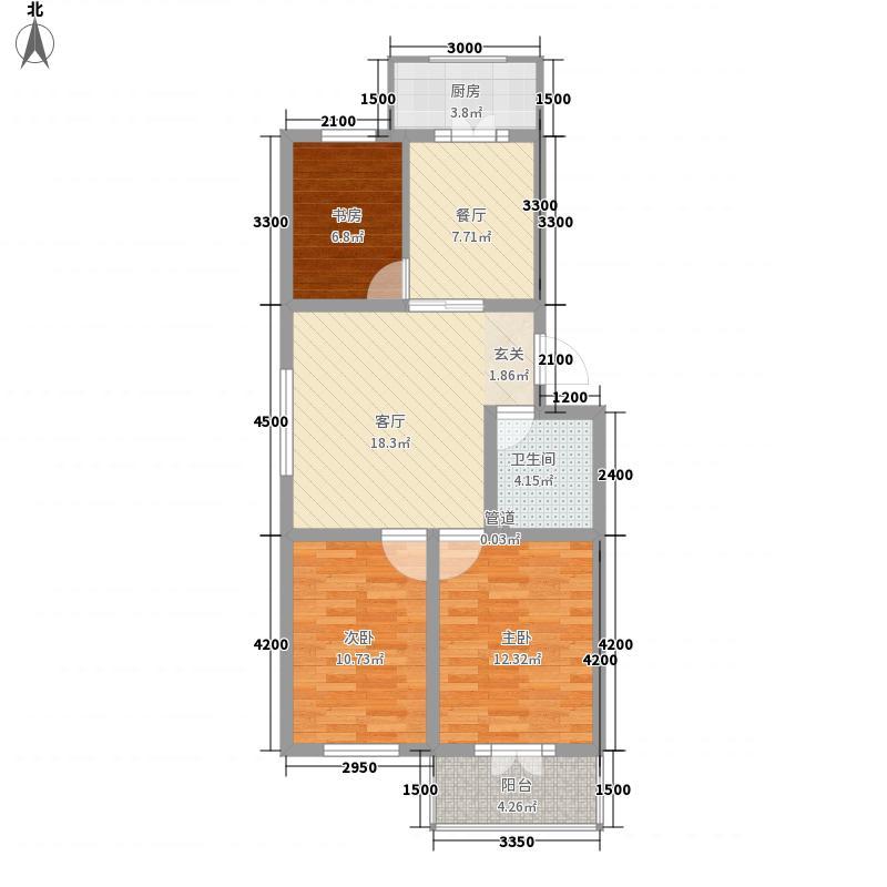 万和城88.45㎡B户型3室2厅1卫1厨