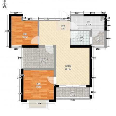 创森财富中心2室1厅1卫1厨57.92㎡户型图