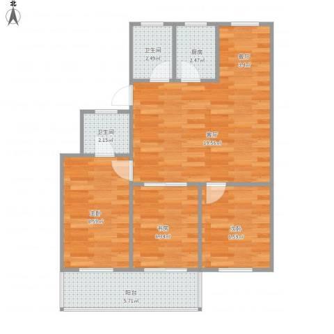 和平小区3室1厅2卫1厨74.00㎡户型图