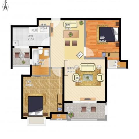 同润蓝美俊庭2室1厅1卫1厨110.00㎡户型图