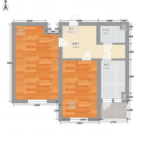 金泰嘉园2室1厅1卫1厨49.00㎡户型图