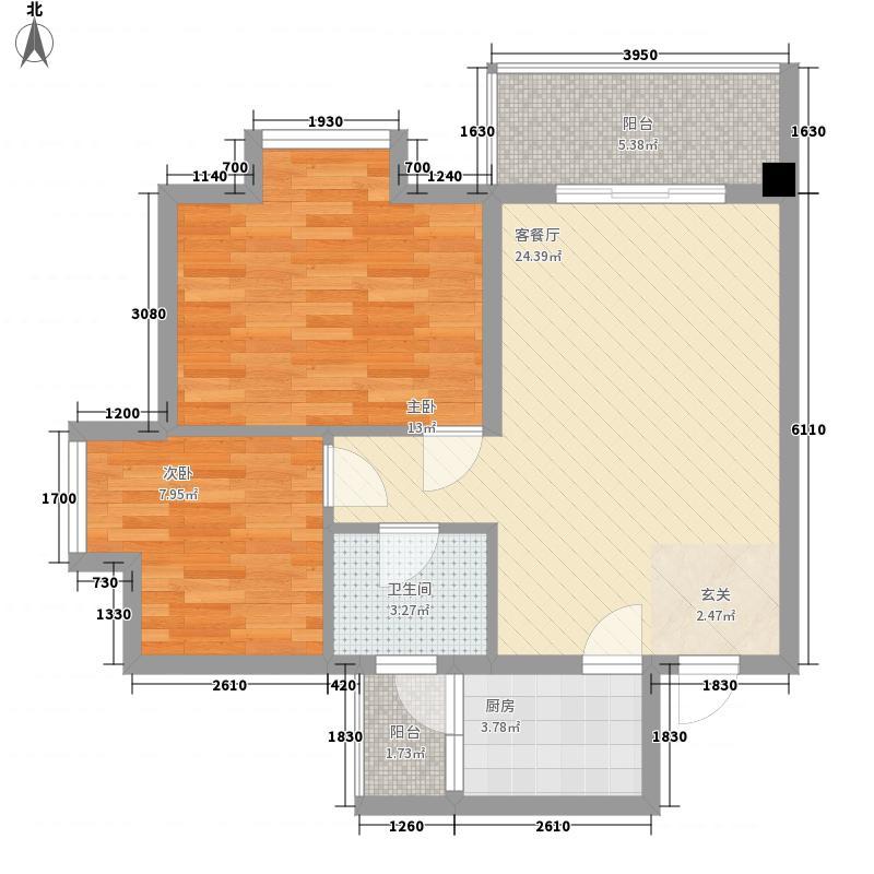 金湖公寓73.31㎡H户型2室2厅1卫