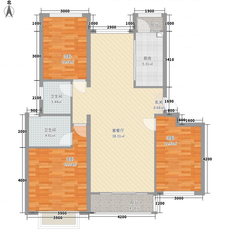 绿地・山水城13.00㎡溪境洋房户型3室2厅2卫