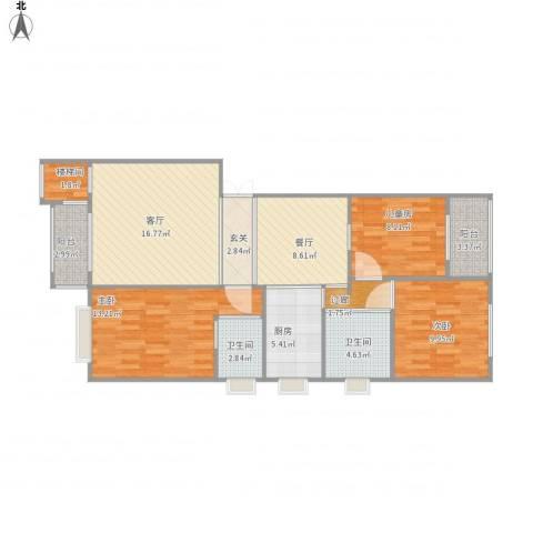 盛世公馆3室2厅3卫1厨113.00㎡户型图