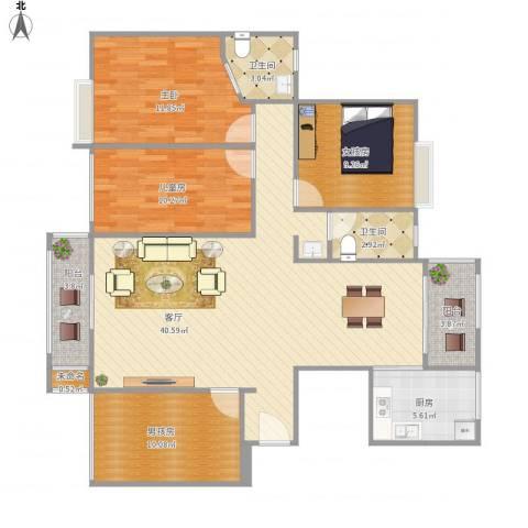 半岛豪庭三期名著2室1厅2卫1厨138.00㎡户型图