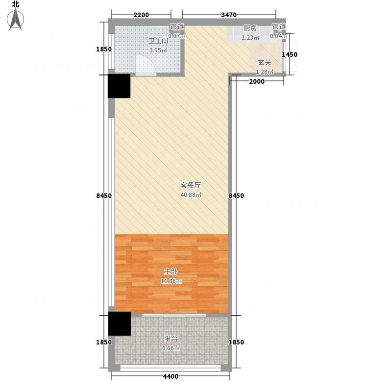 新泉城大厦77.00㎡公寓B9户型1室1厅1卫