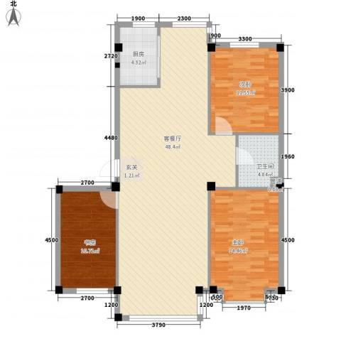 龙湾骏景3室1厅1卫1厨112.00㎡户型图