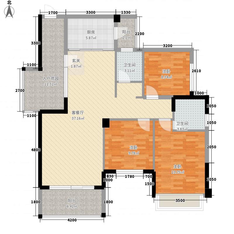 华商国际上海城11126.21㎡11C-2户型3室2厅2卫1厨
