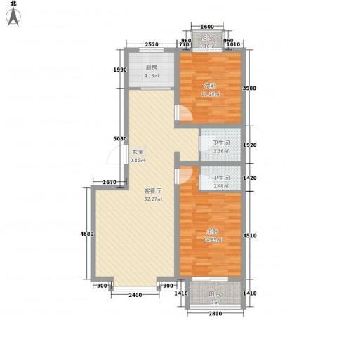 中心大街2室1厅2卫1厨83.18㎡户型图