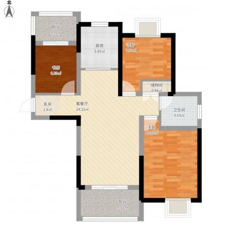 翰庭雅苑3室1厅1卫1厨100.00㎡户型图