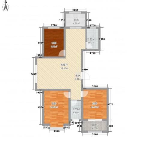 中心大街3室1厅2卫1厨95.58㎡户型图