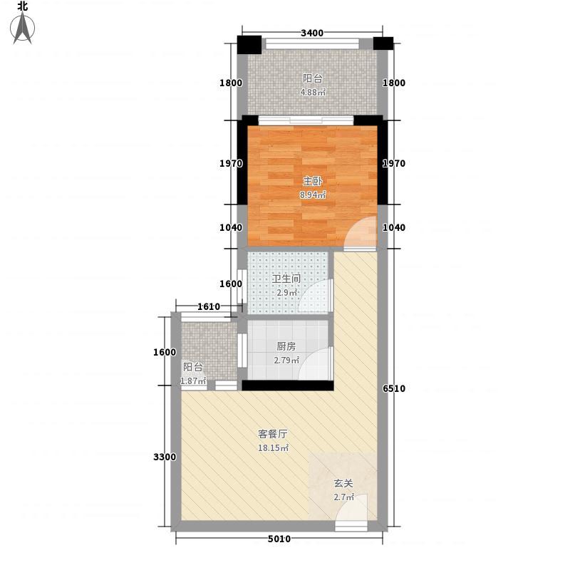 华辰汇景二期55.64㎡B1、B2-B6户型1室1厅1卫1厨