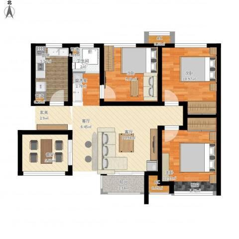月珑湾3室1厅1卫1厨75.00㎡户型图