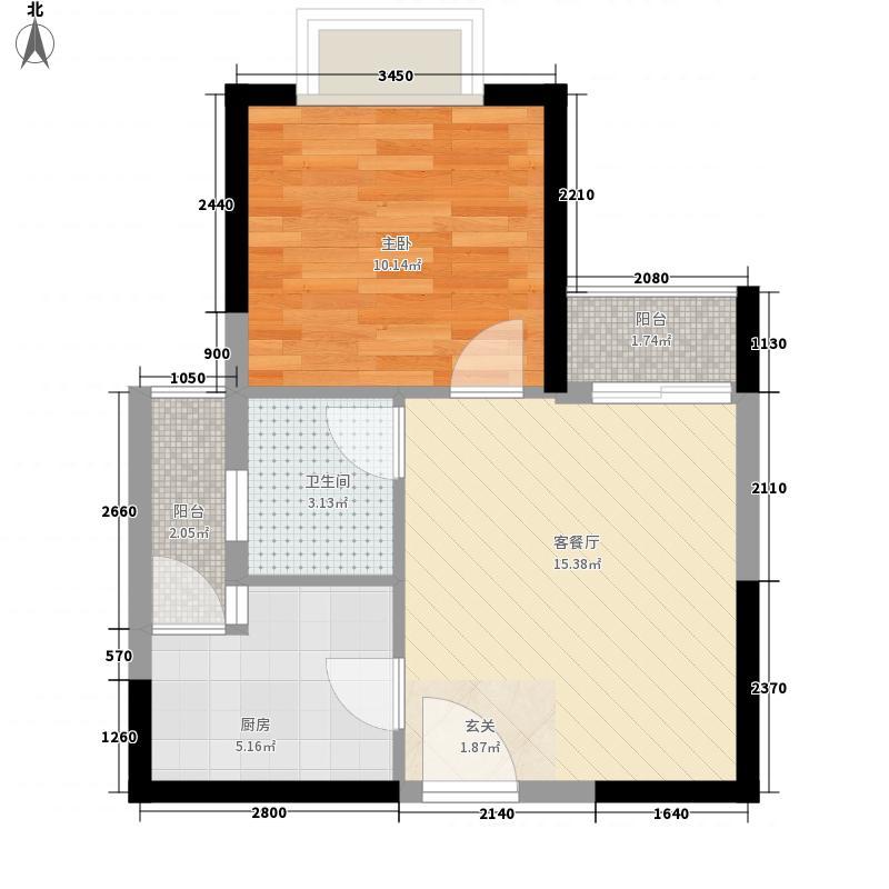 创森财富中心54.20㎡A1户型1室2厅1卫1厨