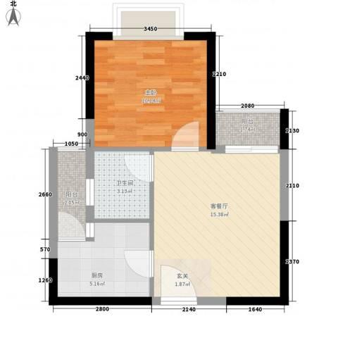创森财富中心1室1厅1卫1厨54.00㎡户型图