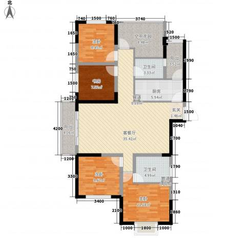 创森财富中心4室1厅2卫1厨103.10㎡户型图