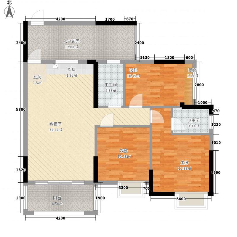 广汇・圣湖城1418.85㎡14#楼二单元022+2室户型2室2厅2卫1厨
