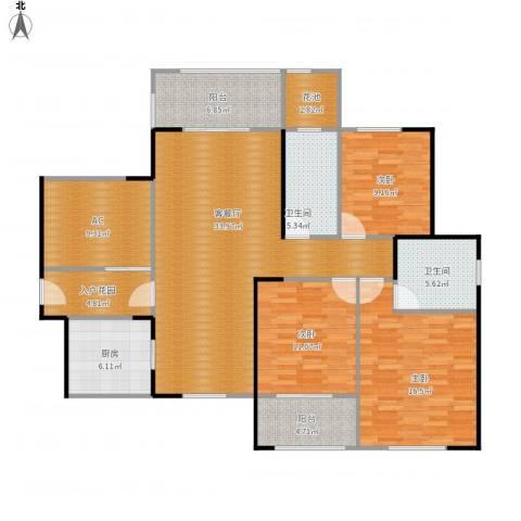 九州丽景苑3室1厅2卫1厨157.00㎡户型图