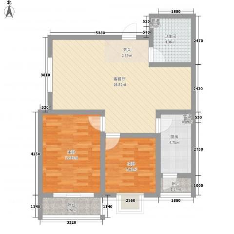 嘉冠尚城2室1厅1卫1厨87.00㎡户型图