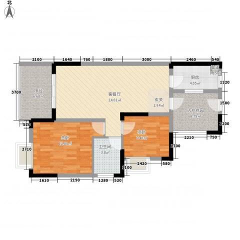 融科海阔天空二期2室1厅1卫1厨94.00㎡户型图